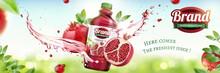 Pomegranates Bottled Juice Ads