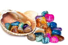 Semiprecious Multicolored Agate Stones In Stripe With Seashell On White Background