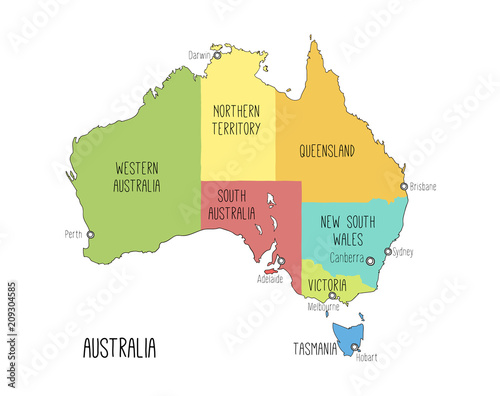 Australia Map Capitals.Vector Map Of Australia Colorful Sketch Illustration With