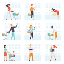 People Choosing Products, Pushing Carts At Grocery Store Set, Man And Woman Shopping At Supermarket Vector Illustration On A White Background