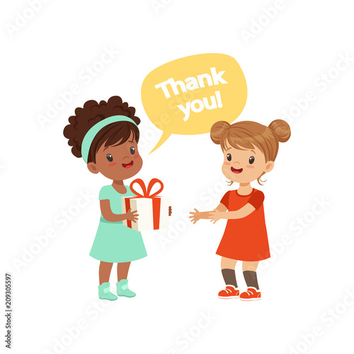 Girl thanking a friend for a gift, kids good manners concept vector Illustration Fototapet