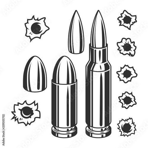 Stampa su Tela Vintage bullets and bullet holes set
