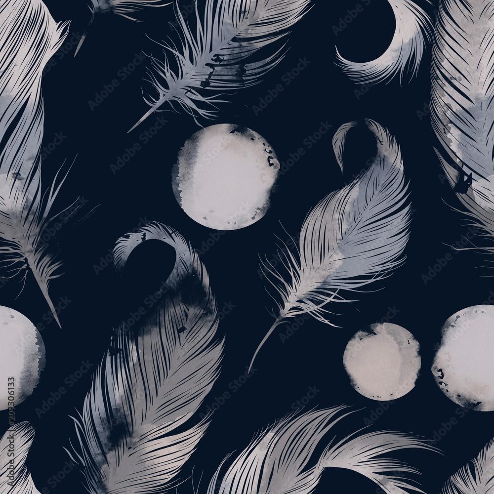 """""""Dobranoc!"""" Pióra i księżyce mix powtórzyć wzór bez szwu. akwarela i cyfrowy wyciągnąć rękę obraz. różne środki przekazu <span>plik: #209306133   autor: Liia Chevnenko</span>"""