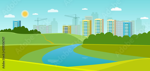 Foto op Canvas Lichtblauw Summer landscape with forest and river. Cityscape panoramic. Vector flat style illustration