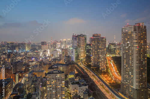 In de dag Stad gebouw Night view of Tokyo city with high building and expressway