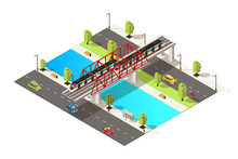 Isometric Colorful Railway Transportation Concept