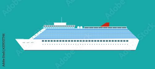 Photo Luxury cruise ship isolated. Vector flat style illustration