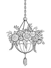 Hanging Ornamental Flowerpot. Vector Illustration Of Decorative Planter, Isolated On White Background. Antistress Coloring Page For Adults