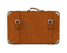 Vintage Leather Suitcase Isola...