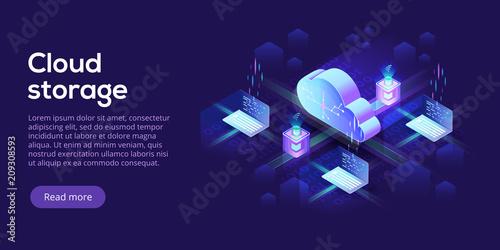 Fotomural Cloud computing or storage isometric vector illustration