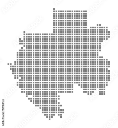 Pixel map of Gabon. Vector dotted map of Gabon isolated on white ...