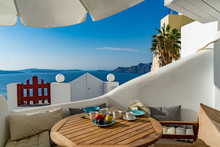 Breakfast In Paradise - On A Terrace In Santorini, Greece