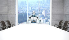 White Robot Boss Conference Room