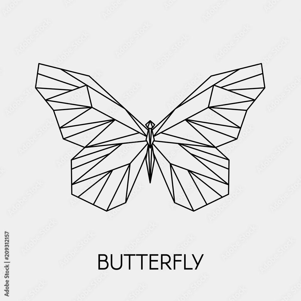 Fototapeta Abstract polygonal butterfly. Geometric linear animal. Vector illustration.