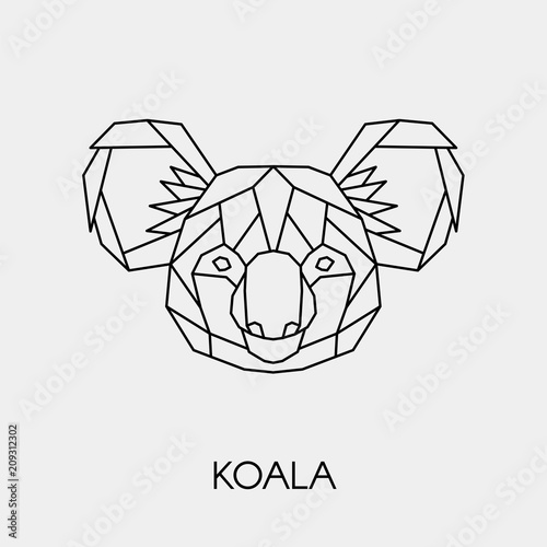 Naklejka premium Abstract polygonal head of a koala. Geometric linear australian animal. Vector.