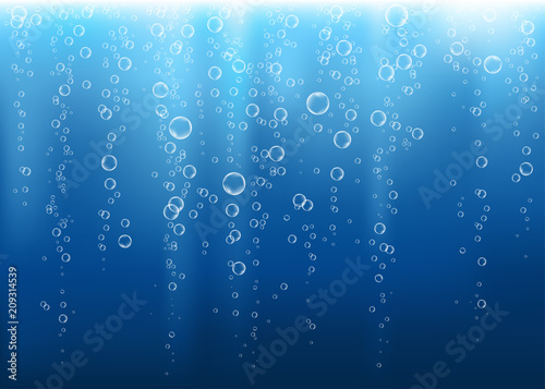 Undersea  blue  fizzing air, water or oxygen  bubbles vector texture Fototapete