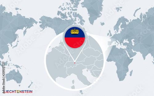 World Map Centered On America With Magnified Liechtenstein Buy