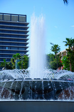 View Of The Los Angeles Fountain With Downtown Cityscape