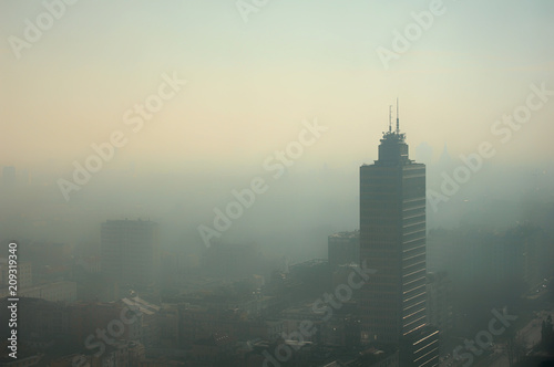 Aerial foggy view of Milan - pollution issue