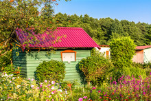 Summer House In The Garden With Flowers. Rural Cottage In Countryside.