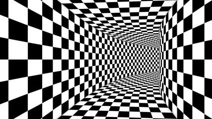 Panel Szklany Czarno-Biały Optical Square Black and White Illusion
