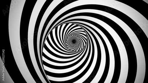 Papiers peints Spirale Optical black and white spinning illusion
