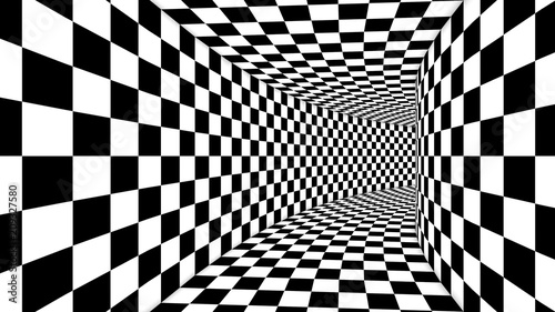 Optical Square Black and White Illusion