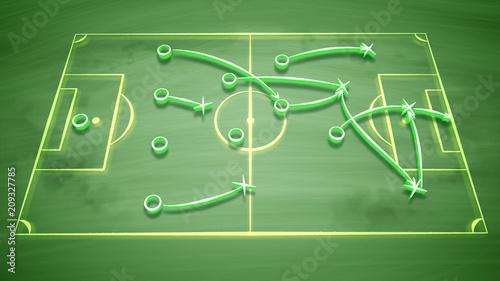 Fotografía Soccer field tactics with signs and symbols
