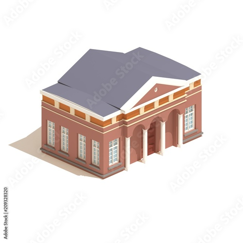 Flat 3d model isometric city hall or university building  illustration isolated on white background Canvas Print
