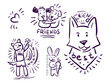 Set Stickers doodle animals friends Dogs and text