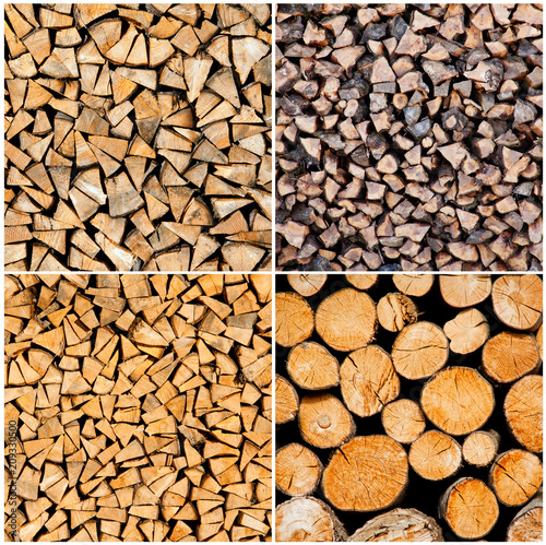 In de dag Brandhout textuur Set of dry chopped firewood and wood logs