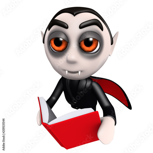3d Funny cartoon dracula vampire character reading a book while flying Poster