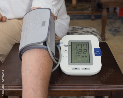 High blood pressure measurement stock photography