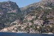 Positano seen from the sea on Amalfi Coast in the region Campania, Italy