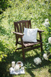 a wooden chair in the garden and cup of tea