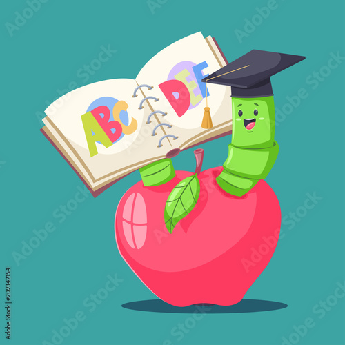 Cute Book Worm In Graduate Hat In Red Apple And Reading The
