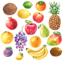 Hand Drawn Watercolor Fruits S...