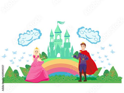 Foto op Aluminium Kasteel Magic castle and princess with prince