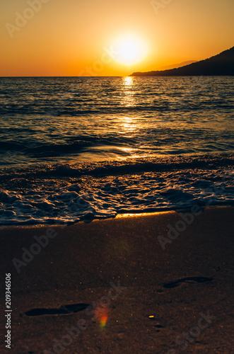 Keuken foto achterwand Zee zonsondergang Sunset in the bay of Adrasan, coast of the Mediterranean Sea, Antalya Province, Turkey