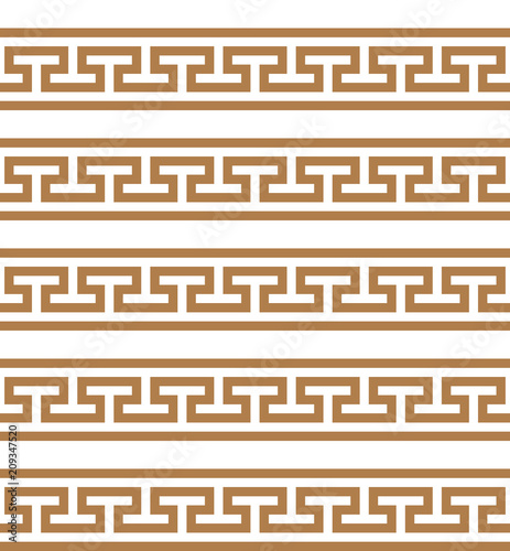 Greek key. Typical egyptian, assyrian and greek motives. Wallpaper Mural