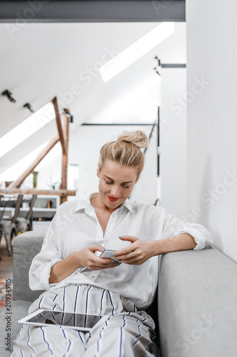 Poster  Woman Using Cell Phone