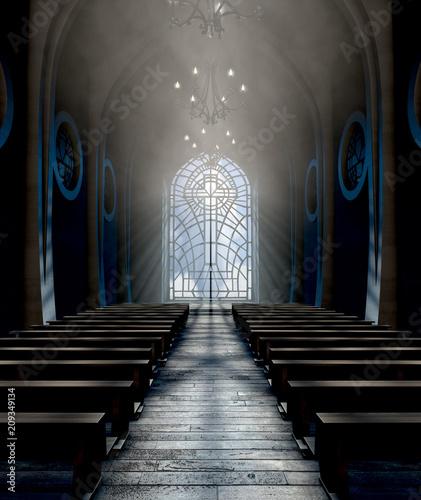Fotografie, Obraz  Stained Glass Window Church