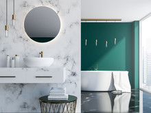 Marble And Green Bathroom Inte...