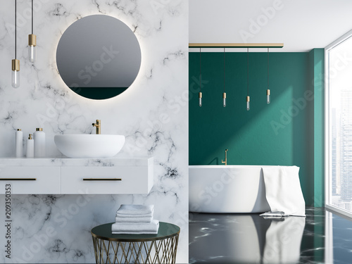 Fotografie, Obraz  Marble and green bathroom interior close up