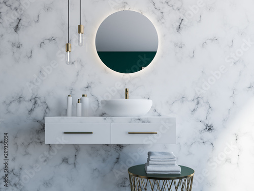 White sink in a modern bathroom Fototapeta