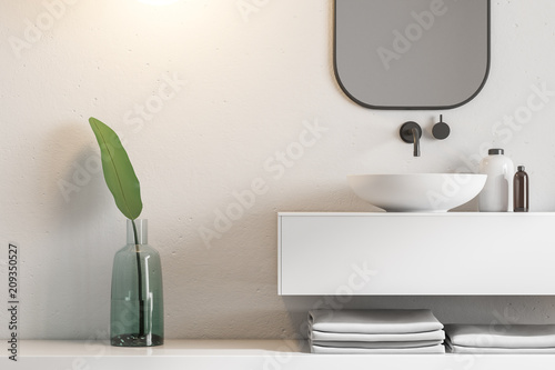 White bathroom interior, marble sink close up Canvas Print