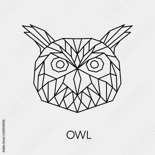 Abstract polygonal owl head Fototapet