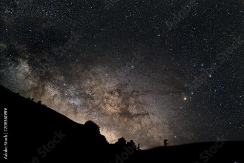 Panorama notturno con parte della via lattea visibile nel cielo buio