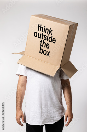 Man with box on his head, think outside the box Fototapet