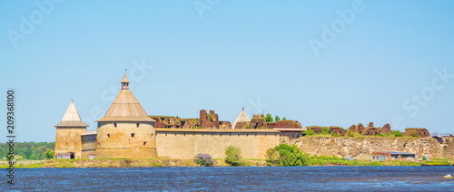 Ancient fortress on an island in the Ladoga Lake in Shlisselburg Fototapeta